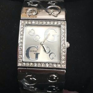 New Guess women's watch silver bling bracelet